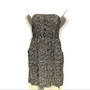 TORRID ANIMAL PRINT BUTTON FRONT STRAPLESS DRESS